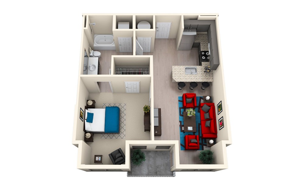 A1B - 1 bedroom floorplan layout with 1 bath and 762 square feet.