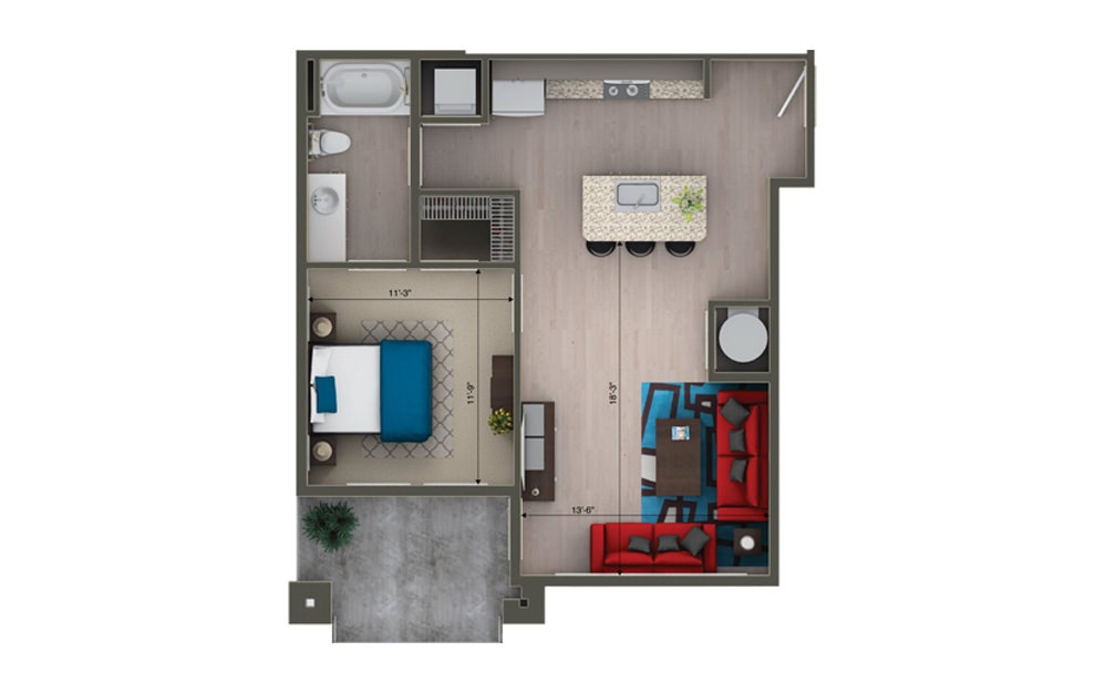 A1C - 1 bedroom floorplan layout with 1 bath and 766 square feet.