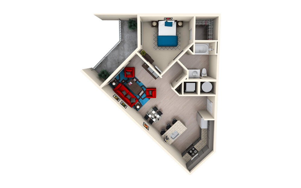 A1D - 1 bedroom floorplan layout with 1 bath and 824 square feet.
