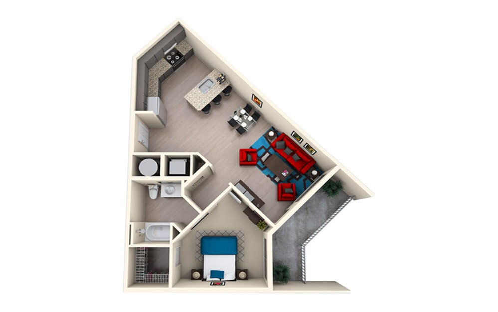 A1E - 1 bedroom floorplan layout with 1 bath and 829 square feet.