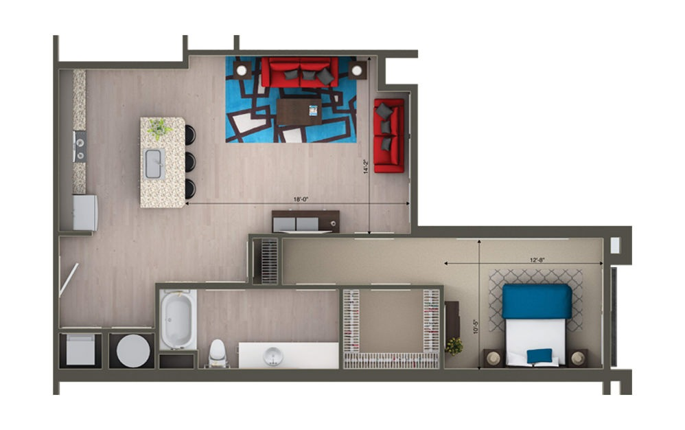 A1F - 1 bedroom floorplan layout with 1 bath and 844 square feet.