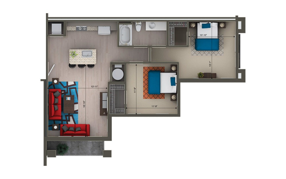 B1A - 2 bedroom floorplan layout with 1 bath and 929 square feet.