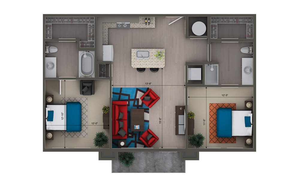 B2A/B - 2 bedroom floorplan layout with 2 baths and 1020 to 1052 square feet.