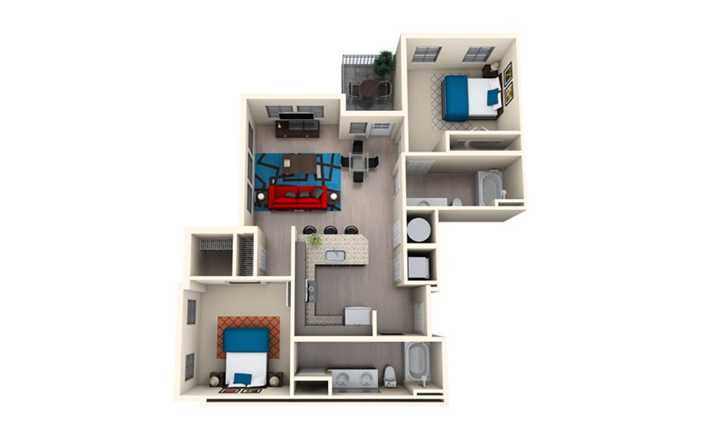 B2C - 2 bedroom floorplan layout with 2 baths and 1080 square feet.