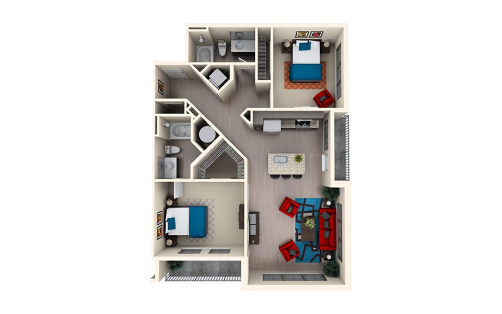 B2D - 2 bedroom floorplan layout with 2 baths and 1142 square feet.