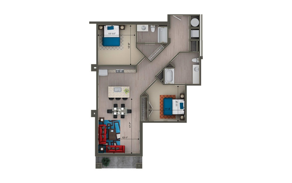 B2E - 2 bedroom floorplan layout with 2 baths and 1148 square feet.