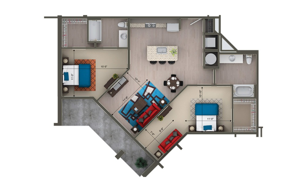 B2F - 2 bedroom floorplan layout with 2 baths and 1227 square feet.