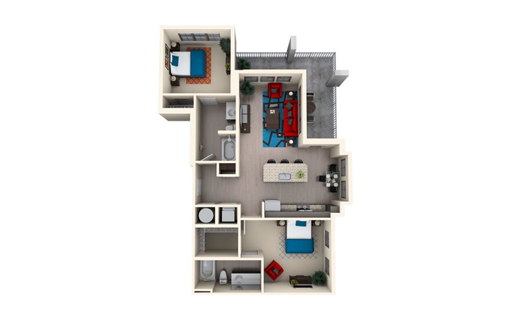 B2G - 2 bedroom floorplan layout with 2 baths and 1234 square feet.