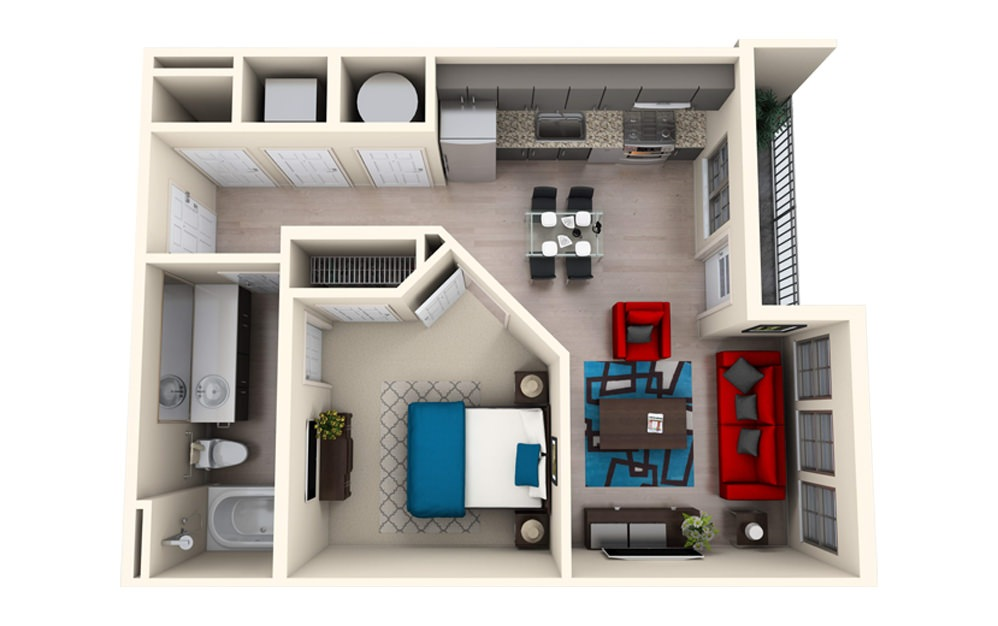 S1A - Studio floorplan layout with 1 bath and 622 square feet.
