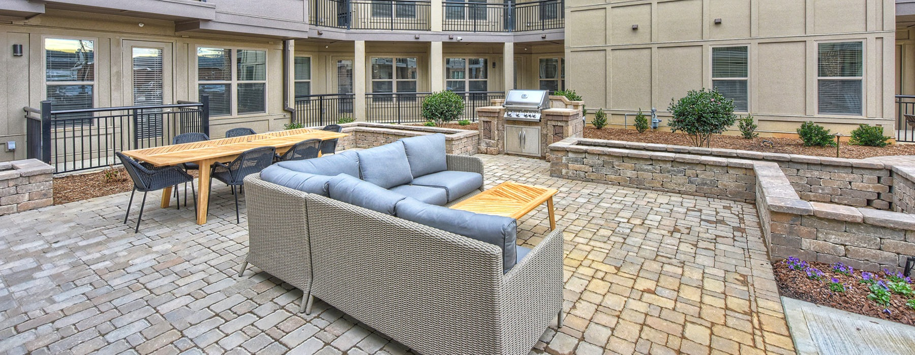 Outdoor couch and seating with stone floor