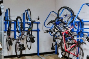 Bikes stored in the interior bike storage room in The Linden Apartments